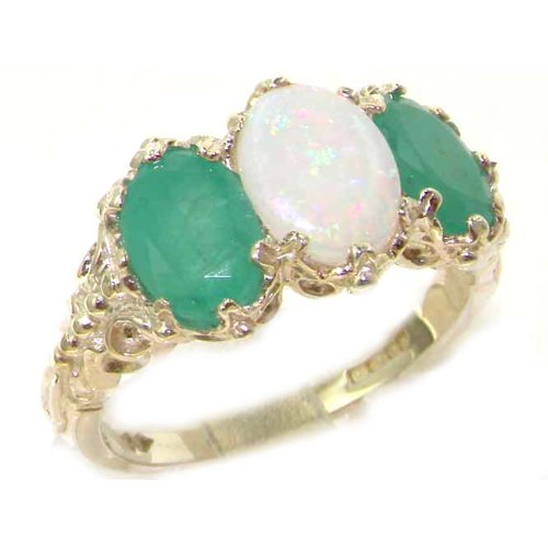 Victorian Design Solid English Sterling Silver Natural Large Opal & Emerald Ladies Ring - Size 12 - Finger Sizes 5 to 12 Available - Suitable as an Anniversary ring, Engagement ring, Eternity ring, or Promise ring