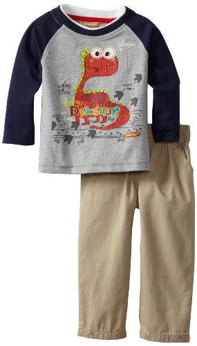 Kids Headquarters Baby-Boys Infant Dinosaur Top With Pants, Gray, 12 Months front-1055499