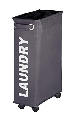 WENKO 3450115100 Laundry bin Corno Grey – laundry basket, capacity 11.36 gal, Polyester, 7.3 x 23.6 x 15.7 inch, Dark grey