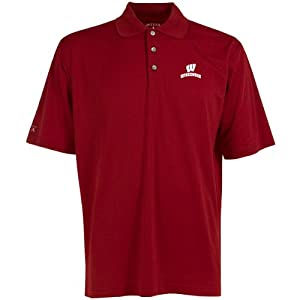 Antigua Mens Wisconsin Badgers Phoenix Desert Dry Moisture Management Pointelle by Antigua