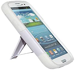 Amzer 95163 Double Layer Hybrid Case with Kickstand for Samsung Galaxy S3 Neo and S III GT-I9300 (White)