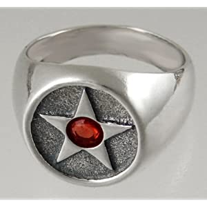 Sterling Silver Pentacle Ring with Genuine Garnet, 10