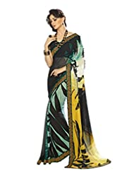AG Lifestyle Black Georgette Saree With Unstitched Blouse SNS221B