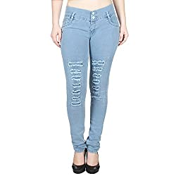 Ajaero Slim Fit Denim Lycra Women Jeans (Ice Blue, 28)