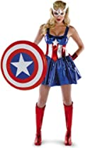 Captain America Sassy Deluxe Adult Costume Blue Small (4-6)