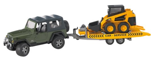 Bruder Jeep Wrangler with Tow Trailer and Caterpillar Skid Steer Loader
