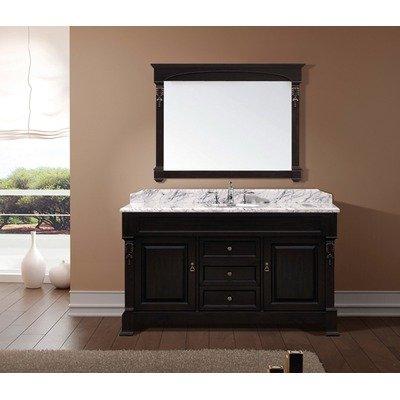 Virtu USA GS?4060?WMRO?DW Huntshire 60-Inch Single Sink Bathroom Vanity with Mirror and Ceramic Basin, Dark Walnut Finish