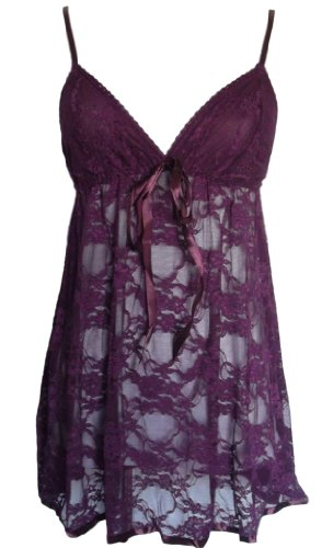Alivila.Y Fashion Sexy Lace Lingerie Sleepwear Sleep Dress Set With G-String 402-Purple-One Size Fits Size 2 to 12