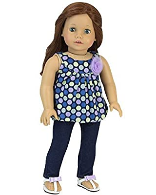 18 Inch Doll Tank Top & Jeggings Perfect Fit for American Girl Dolls & More, Jean Leggings Pants and Purple & Blue Polka Dot Tank with Flower Embellishment by Sophia's