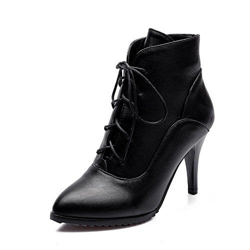 AllhqFashion Donna Allacciare Scarpe A Punta Tacco Alto Alla Caviglia Stivali con Nodo, Nero, 43
