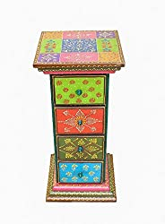 Crafticia Traditional Craft Rajasthani Handicraft Ethnic Wooden Side Corner Drawer of 4 Showpiece