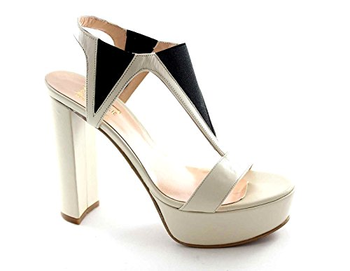 DIVINE FOLLIE VICHY beige sandali donna tacco plateaux elastico 37