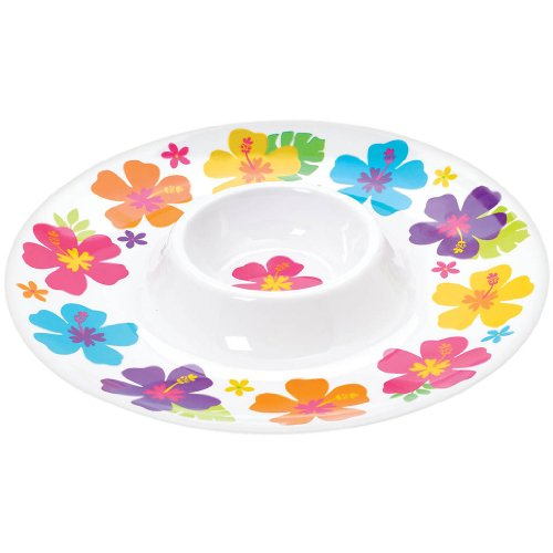 White Chip and Dip Melamine Hibiscus Platter 13.2 X 13.2 X 1.6 Inches - 1