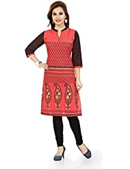Desi Aura NX Red Bliss Cotton Short Tunic Dress With Printed Design (Pack Of 1)