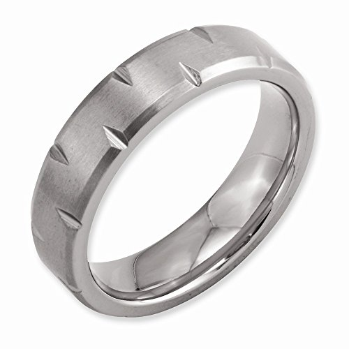 Titanium Men Beveled Edge Notched 6Mm Brushed Band