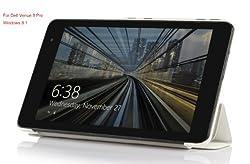 VSTN® Dell Venue 8 Pro (Windows 8.1) ultra-thin Smart Cover Case, Only fit Dell Venue 8 Pro windows 8.1 tablet (For Dell Venue 8 Pro (Windows 8.1), White)