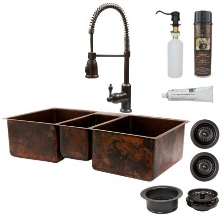 Premier Copper Products KSP4-KTDB422210 42 in. Copper Hammered Kitchen Triple Basin Sink with Spring Pull Down Faucet