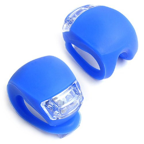 E-Prance New 2Pcs/Set Led Clip-On Silicon Band Bicycle Lights 3 Flashing Modes ,Blue front-267087
