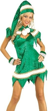 Womens XMAS Christmas Costumes Green Holiday Elf Dress Santas Helper Costume Theme Party Outfit