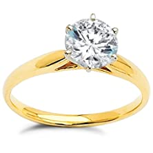 buy 1.75Ctw. Cz Cubic Zirconia 14K Yellow Gold Solitaire Engagement Ring Size 9