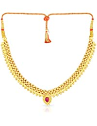 Malabar Gold And Diamonds Tushi Collection 22k (916) Yellow Gold And Crystal Choker Necklace - B01LX8X94X