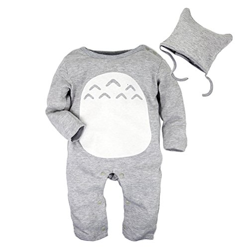 Big Elephant 2 Pieces Baby Boys Long Sleeve Totoro Romper with Hat Set D76 (3-6 Months, Gray) (Tag Size:80+)