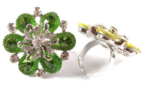 Ladies Green Spiral Centered Flower Metal Adjustable Finger Ring