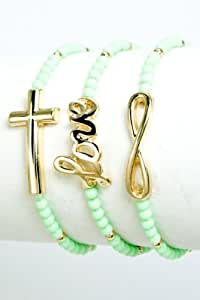(Mint Color) Metal Cross, Infinity and Love, acrylic beaded stretchable bracelet 3Pc. Set