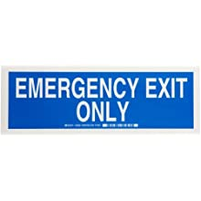 "Brady 84662 5"" Height, 14"" Width, B-302 High Performance Polyester, Blue On White Color Exit And Directional Sign, Legend ""Emergency Exit Only"""