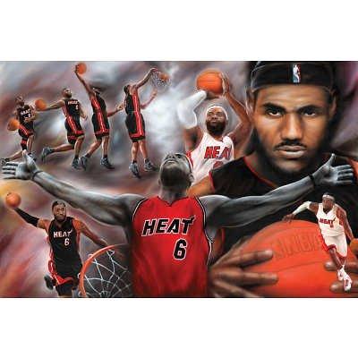 (24x36) LeBron James Collage Miami Heat NBA Sports Poster