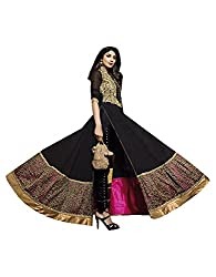 Stylish Fashion Shilpa Shetty Gorgeous Black Neck Embroiderd Long Suit With Attractive Designer Back Work and Diamond Work