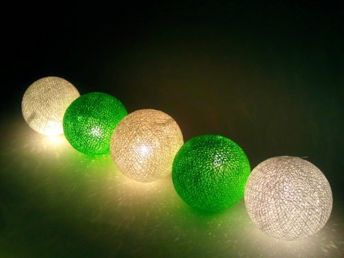 Light Green And White Cotton Ball String Lights Patio Wedding And Party Decoration (20Pcs./Set)