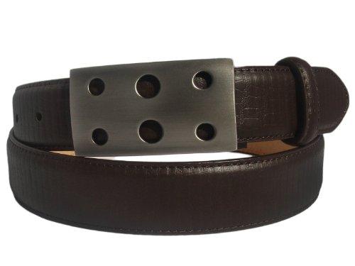 Marco Valentino Dark Brown Lizard Print Genuine Leather Belt Silver Buckle 28