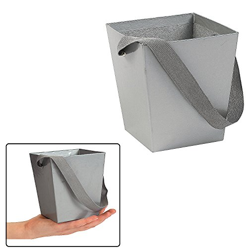 SILVER CARDBOARD BUCKET WITH RIBBON HANDLE (6 PIECES)