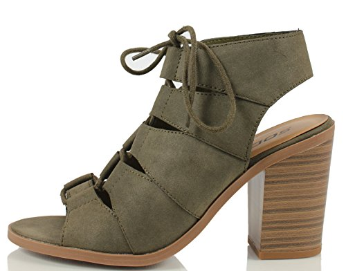 Soda Women's Quince Faux Leather Peep Toe Lace Up Gladiator Slingback Open Back Ankle Boot, Khaki, 6 M US (Gladiator Sandals Soda compare prices)