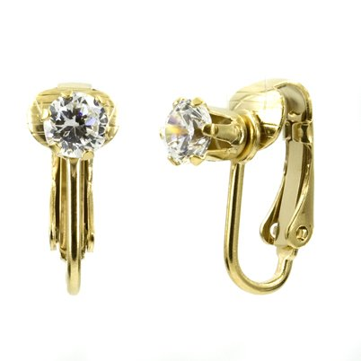 Deena's Clip On Earrings- April Birthstone Faux Diamond