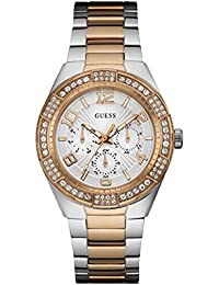 Guess Crystals Multifunction Two Tone Stainless Steel Bracelet Womens Watch - W0729L4
