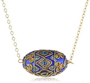 """Gold Over Sterling Silver Chain with Cloisonne Egg Shape Bead Necklace, 18"""""""