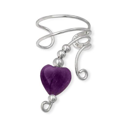 Bling Jewelry Amethyst Gemstone Heart Ear Cuff Right Ear 925 Sterling Silver