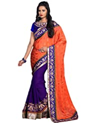 AG Lifestyle Peach & Purple Jacquard & Georgette Saree With Unstitched Blouse ASL704