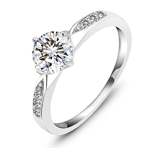 925 Sterling Silver Womens Classic Solitaire