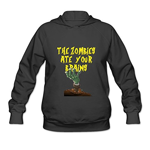 LQYG Women's Long Sleeve Sweater - Plants Vs Zombies-the Zombies Ate Your Brains Black Size M