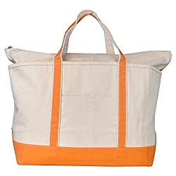 Rhombus Orange Trim Natural Canvas Large Boat Tote