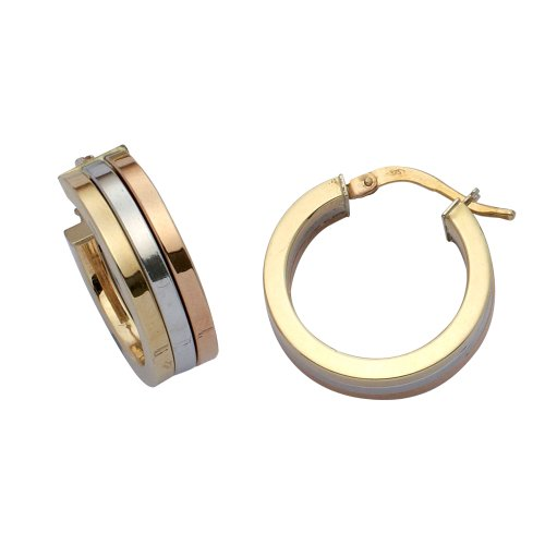 9ct 3-Colour Gold 3-Row Band Creole Earrings