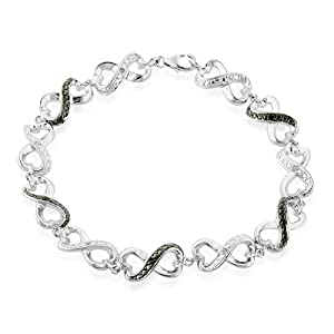 Black and White Diamond Accented Infinity Bracelet in Sterling Silver 7.5