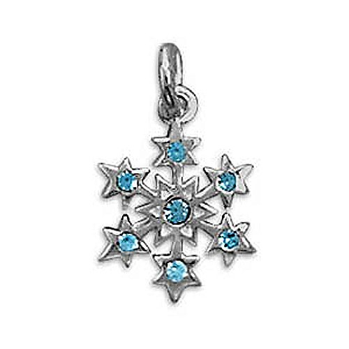 Clevereve Designer Series Sterling Silver Small Aqua Crystal Snowflake Charm 11.0Mm