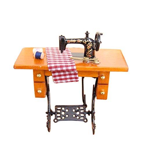 Vintage Static Dollhouse Miniature Decorative Treadle Sewing Machine Dolls House Desk