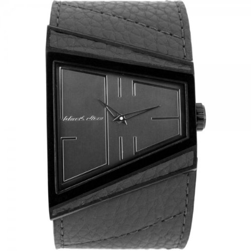 Black Dice Men's Hustle Genuine Grey Leather Strap Watch BD 003 06 With Ip Black Stainless Steel Case Wrapped In Leather