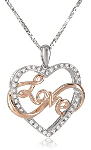"Pink Gold Plating and Sterling Silver Diamond Heart Pendant Necklace, (1/10 cttw, IJ Color, I2-I3 Clarity), 18"" from The Aaron Group - HK DI"