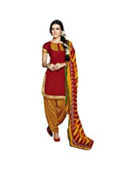 She Fashion Women's Cotton Suit With Print Straight Unstitched Stiched Suit [Karishma8004_Blue_Free Size] - B019S34460